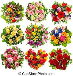 buquet, flores brancas, nove, coloridos