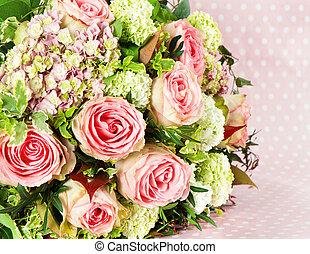 buquet, flores côr-de-rosa, rosas