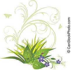 buquet, flores, capim