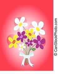 buquet, flores, cartão