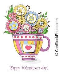 buquet, flores, doodled