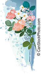 buquet, flores, grunge, fundo