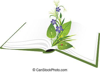 buquet, flores, livro