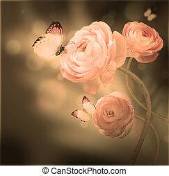 buquet, fundo, borboleta, rosas cor-de-rosa, escuro, contra