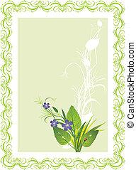 buquet, grass., flores, cartão
