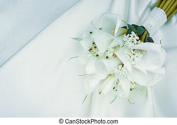 buquet, lírios, calla, casamento branco