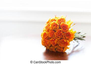 buquet, laranja, casório, rosas