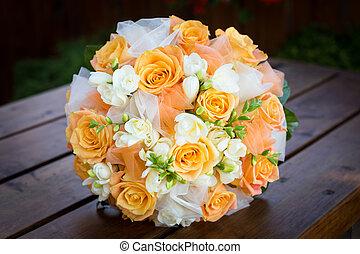 buquet, laranja, nupcial, flores, branca