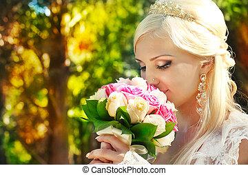 buquet, mãos, noiva