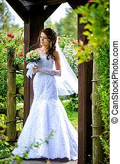 buquet, noiva, ao ar livre