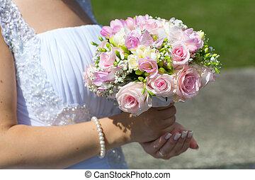 buquet, noiva, casório, mãos