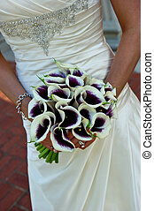 buquet, noiva, closeup, segurando