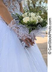 buquet, noiva, mãos