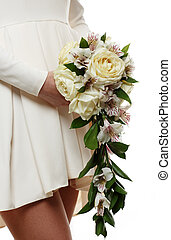 buquet, noiva, nupcial, flores, mãos