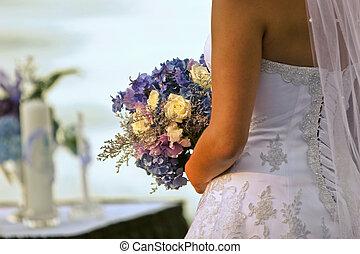 buquet, noiva, parte traseira, segurando, vista