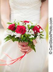 buquet, noiva, rosas, nupcial, mãos