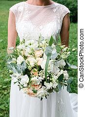 buquet, noiva, segurando, casório