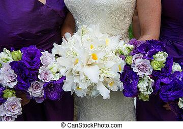 buquet, noiva, segurando