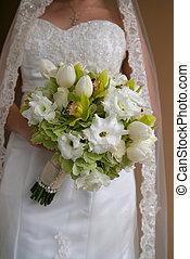 buquet, noiva, verde, segurando, flores brancas