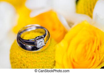 buquet, nupcial, anéis, casório