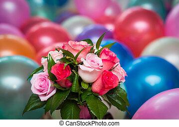 buquet, nupcial, balões, fundo, coloridos