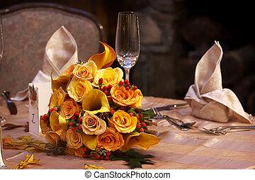 buquet, nupcial, casório