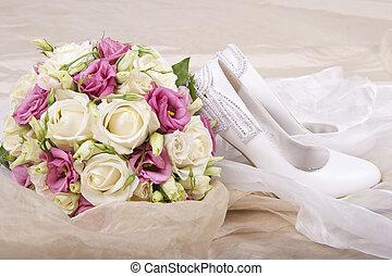 buquet, nupcial, dia, casório