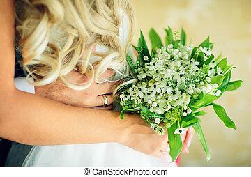 buquet, nupcial, flores, branca