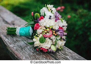 buquet, nupcial, flores, branco vermelho