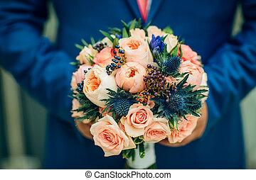 buquet, nupcial, flores, vermelho