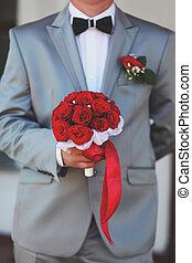 buquet, nupcial, noivo, segurando