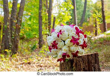 buquet, orquídeas, rosas, casório, nupcial, branca