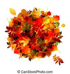 buquet, outono, desenho, folha, seu