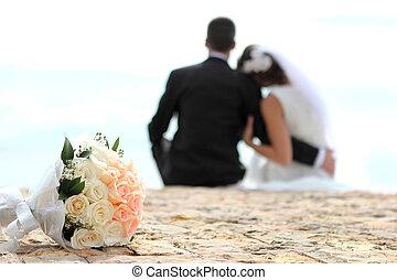 buquet, par, romanticos, fundo