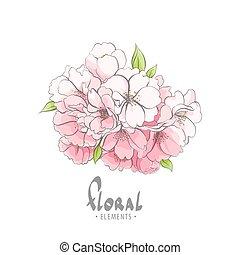 buquet, pequeno, flores, árvore, maçã