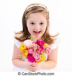 buquet, pequeno, menina flor