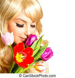 buquet, primavera, mulher, flor, beleza