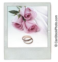 buquet, rosa, anéis, casório