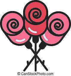 buquet, rosa, apartamento, ícone