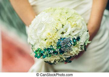 buquet, rosa, nupcial, flores, branca