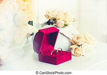 buquet, rosas, anéis, casório