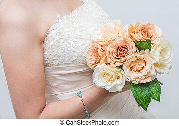 buquet, rosas, branca, nupcial