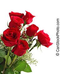 buquet, rosas, branca, vermelho, fundo