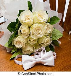 buquet, rosas, casamento branco