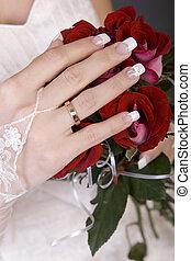 buquet, rosas, dela, mão