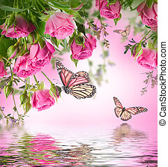 buquet, rosas, delicado, fundo, floral, borboleta