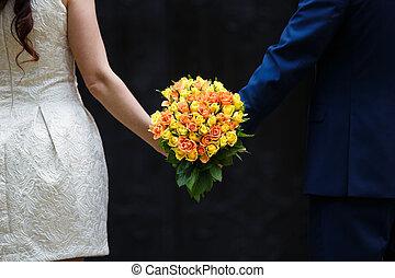 buquet, rosas, nupcial