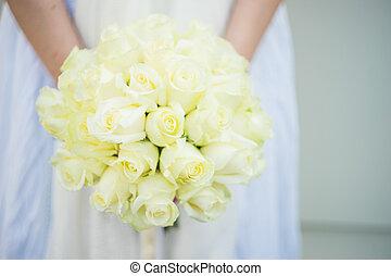 buquet, rosas, nupcial, branca