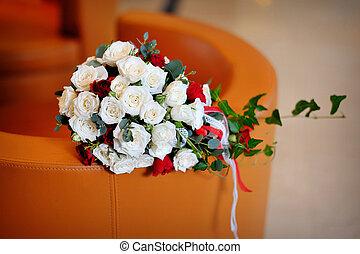 buquet, rosas, nupcial, branco vermelho