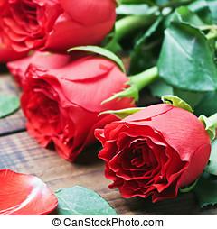 buquet, rosas, vermelho, tabela